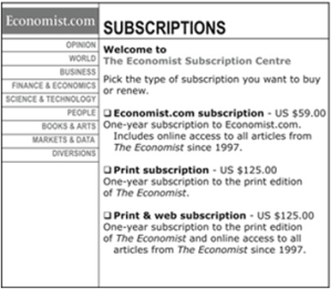 The Economist Subscription Options